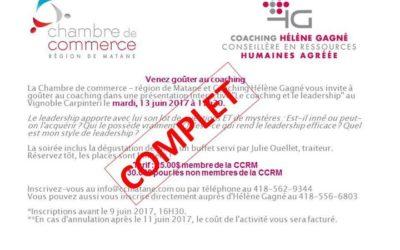 L'activité organisée en collaboration avec Coaching Hélène Gagné – CRHA affiche …