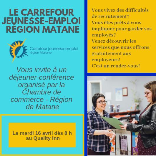 Le déjeuner-conférence en collaboration avec le Carrefour jeunesse-emploi région…