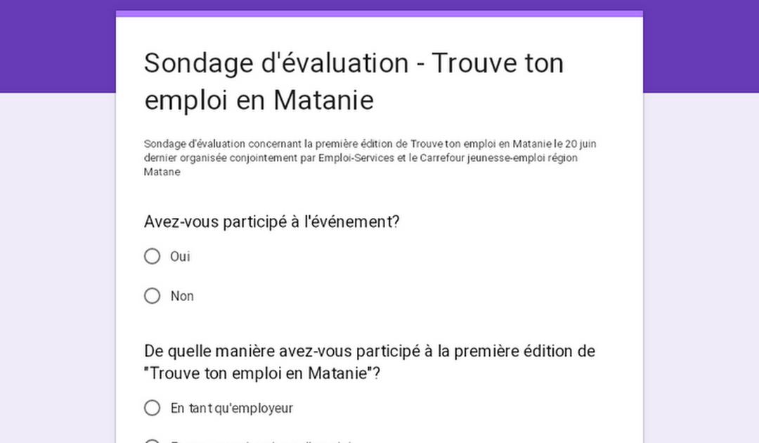 Sondage d'évaluation – Trouve ton emploi en Matanie