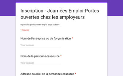 Inscription – Journées Emploi-Portes ouvertes chez les employeurs