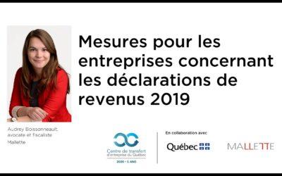 COVID-19 : Mesures pour les entreprises concernant les déclarations de revenus 2019.