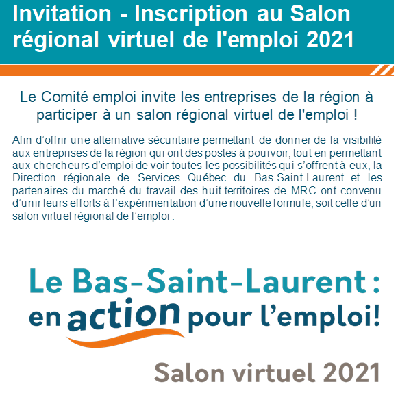 LE SALON RÉGIONAL VIRTUEL DE L'EMPLOI 2021…